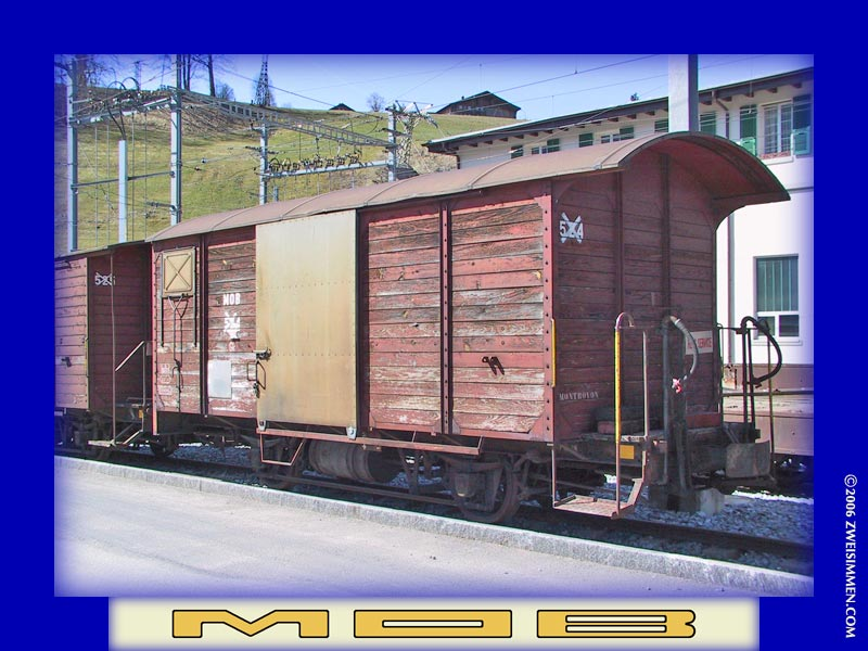 Gk524: MOB boxcar, out of service, at Zweisimmen, April 13, 2003, 1135