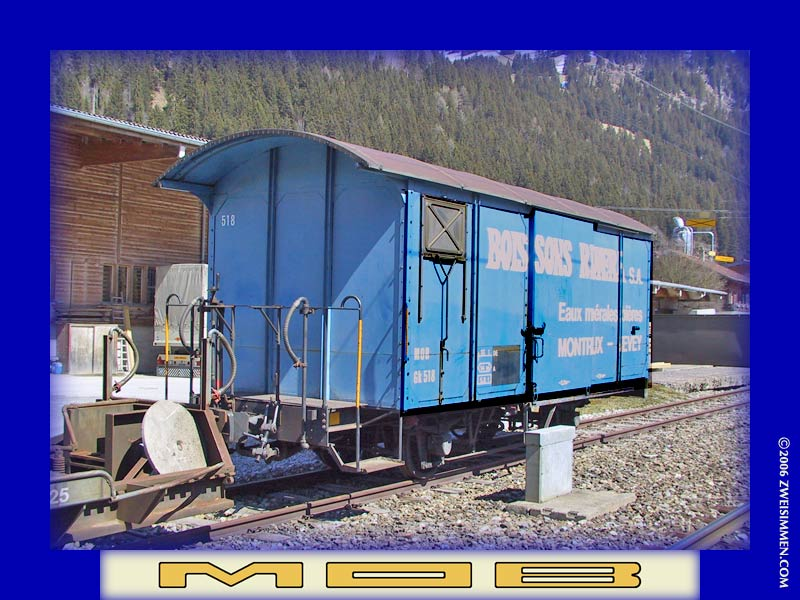 Gk518: MOB advertising boxcar 'Boissons Riviera', LH & front, at St. Stephan, April 13, 2003, 1430