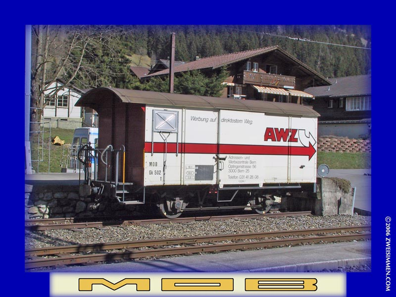 Gk502: MOB advertising boxcar 'AWZ', LH & front, at Zweisimmen, October 21, 2005