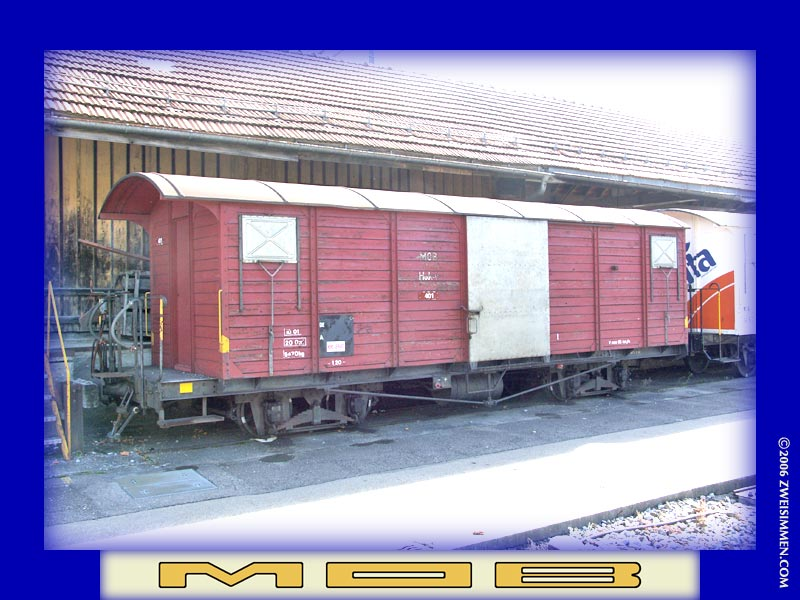 401: MOB boxcar, out of service, at Zweisimmen, October 21, 2005