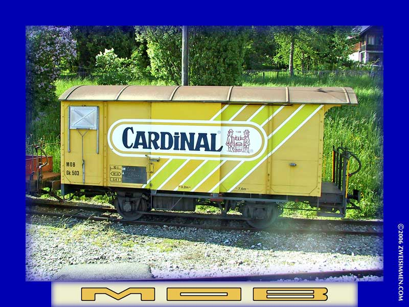 Gk503: MOB advertising boxcar 'Cardinal' beer, location unknown but near Les Avants, October 19, 2001